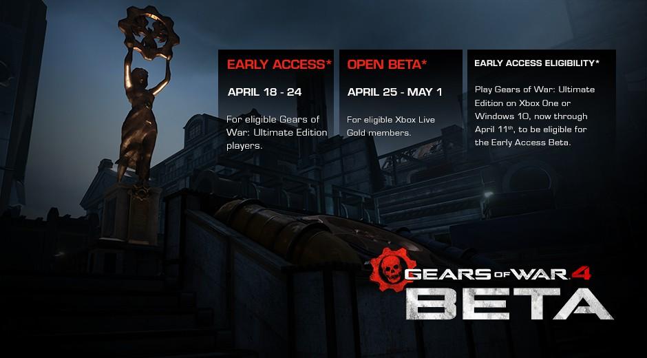 Gears of War 4 beta tarihleri